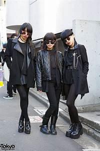 Harajuku Trio In All Black W Red Eye Make Up Chokers