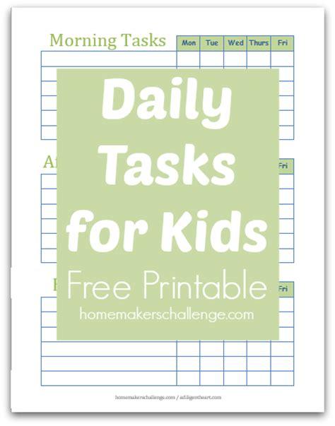 Daily Tasks for Kids   Free Printable