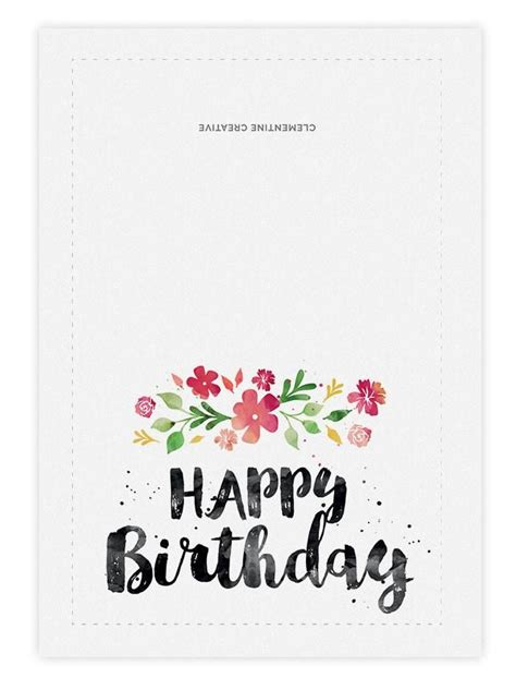 birthday card template printable birthday card blossoms card