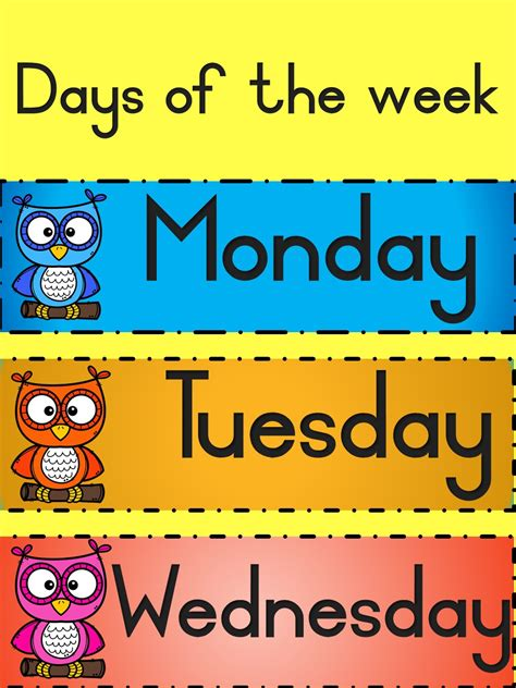 Wackynix Days Of The Week With Colorful Owls Teacha