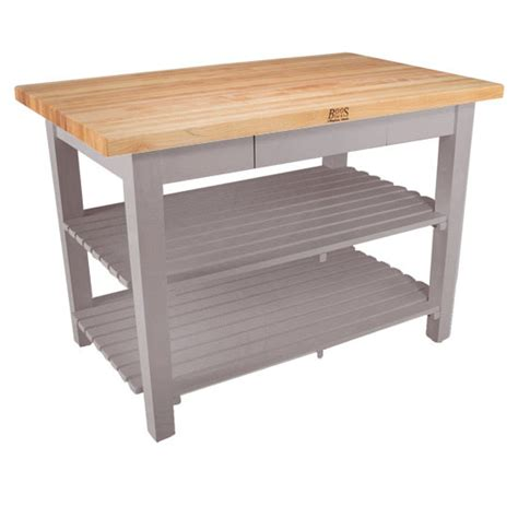 kitchen work islands kitchen islands classic country work table with 2 shelves 36 deep by john boos