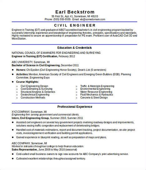 some necessary for civil engineering resume