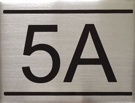 Dob Nyc Apartment Number Sign  5a Brushed Aluminum (2