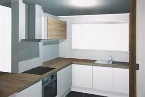 amenagement cuisine espace reduit cuisine contemporaine With amenagement cuisine espace reduit