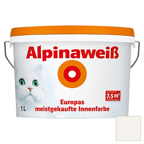Alpina Weiß Deckkraft by Alpina Dispersionsfarbe Alpinawei 223 1 L Matt 5861