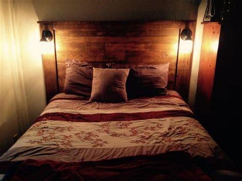 rustic pallet headboard diy pallet headboard with lights pallet wood projects Diy