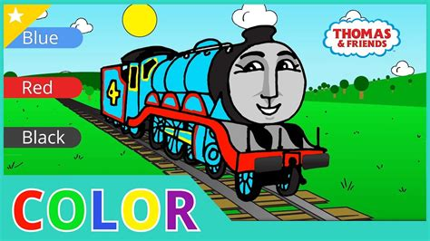 learn colors  trains thomas  tank engine coloring page  kids youtube