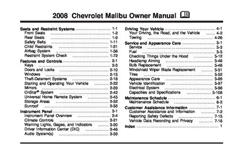 chevrolet malibu owners manual  give