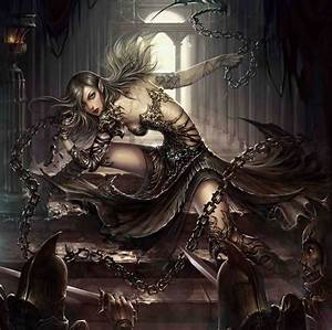 Killer, Art, Assassin, Black, Blue, Blue, Eyes, Chains, Combatant, Dark, Elf, Eyes, Fantasy