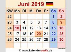 Kalender Juni 2019 als ExcelVorlagen