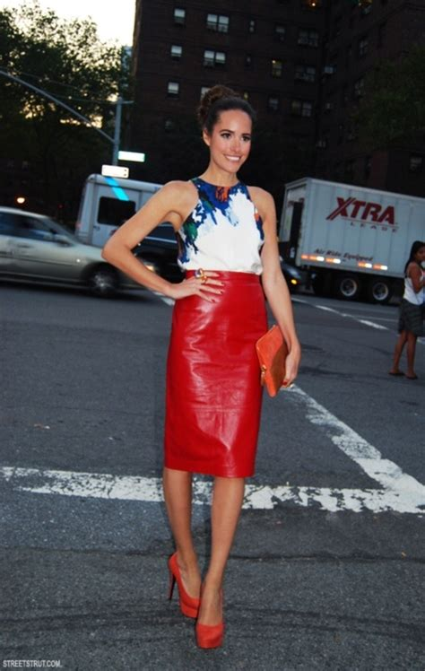 Red leather skirt clutch and heels!