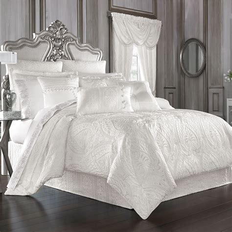 black and white bedskirt bianco puff jacquard solid white comforter bedding by j
