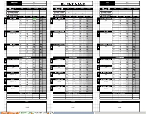 Workout Template Workout Template Excel Calendar Monthly Printable