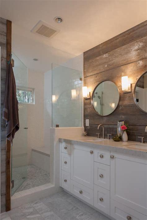 white rustic bathroom  wood paneling hgtv