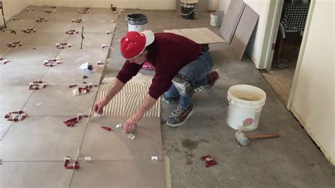 kitchen floor tile installation  dry pack