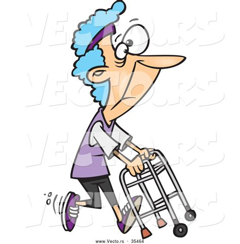 Vector Of A Healthy Cartoon Granny Running With A Walker