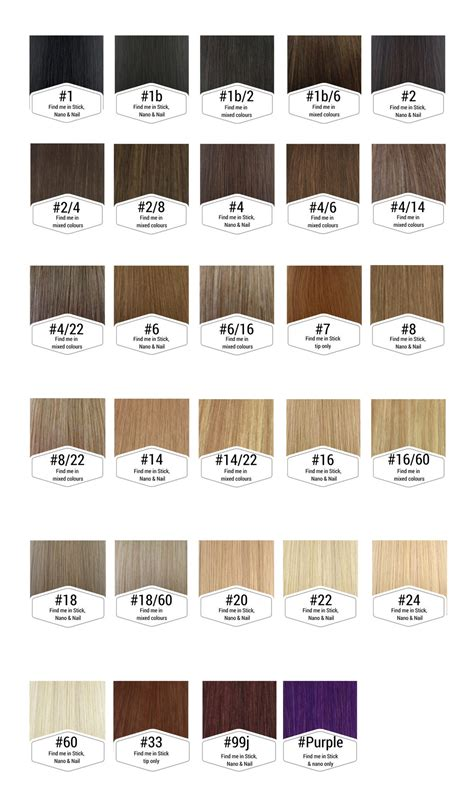 Hair Color Chart by Stick Tip Hair Extensions 100 Human Remy Simplyhair