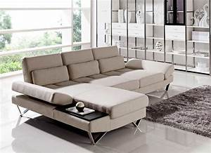 Soft fabric sectional sofa with built in end table vg208 for Sectional sofa built in tables
