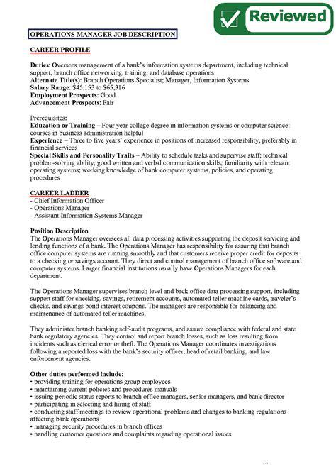 Operations Coordinator Description by Executive Director Description Template