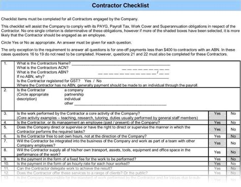 package contractor checklist