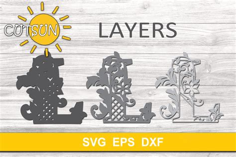 Each layer builds upon the next and creates a 3d look when completed. 3D Alphabet Layered Mandala L - 3 layers SVG (523671 ...