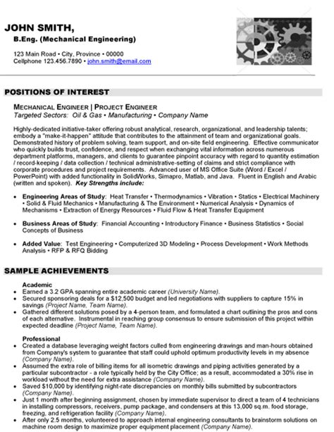 Resume For Project Engineer Mechanical expert global gas resume writer