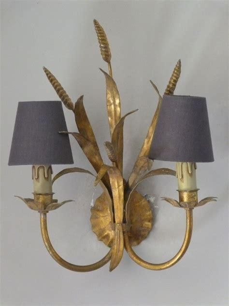 pair of vintage italian toleware wall lights