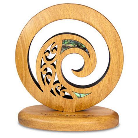 New Zealand Rimu Freestanding Koru Carving