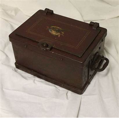 Strong Box Antique Eagle Iron Lock Stage