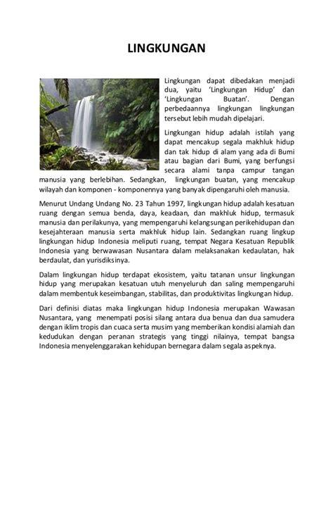 teks tentang lingkungan