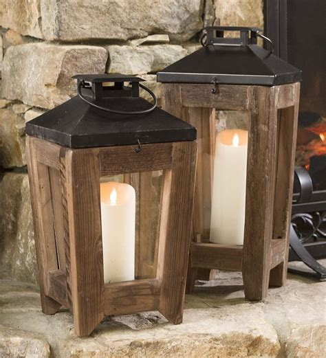 rustic lantern lights rustic reclaimed wood and metal lanterns so that s cool 2066