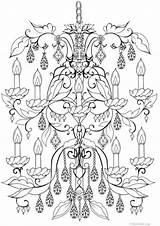 Chandelier Coloring Deco Objet Printable Adult Omeletozeu sketch template