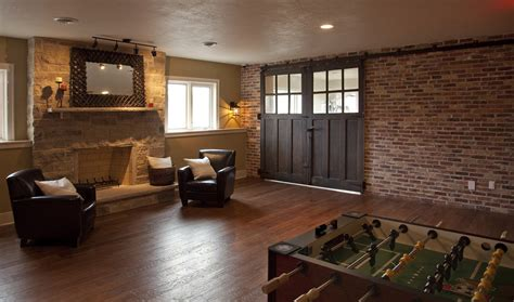 Interior Brick Wall Family Room Eclectic With Interior