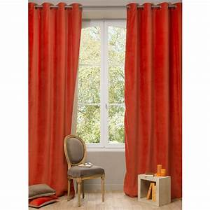 Velvet double sided eyelet curtain in terracotta and beige for Double eyelet curtains