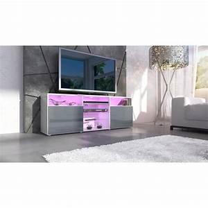 Meuble Gris Laqué : meuble tv gris laque ~ Nature-et-papiers.com Idées de Décoration
