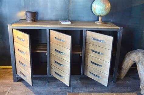 meuble de cuisine rangement bahut industriel 3 portes bois massif métal micheli design