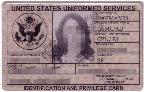 blank military id card template blank military id card