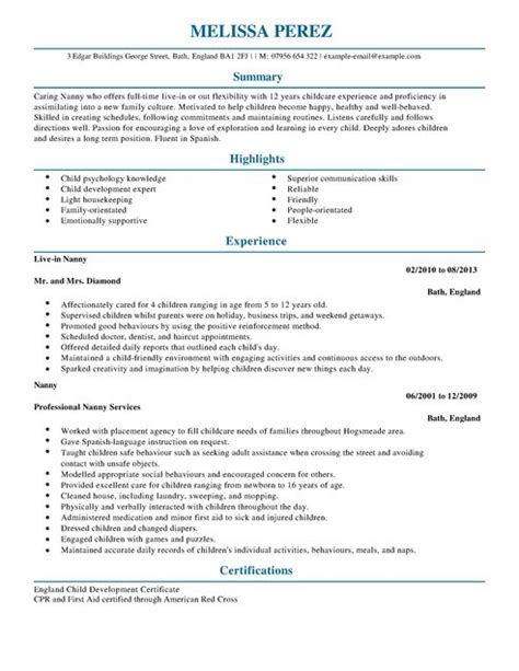 Nanny Duties On A Professional Resume by Nanny Cv Exle For Personal Services Livecareer