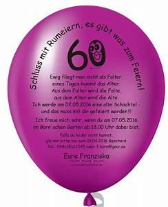 60 Geburtstag Frau Lustig : individuelle einladungskarten zum 60 mit einladungsballons ~ Frokenaadalensverden.com Haus und Dekorationen