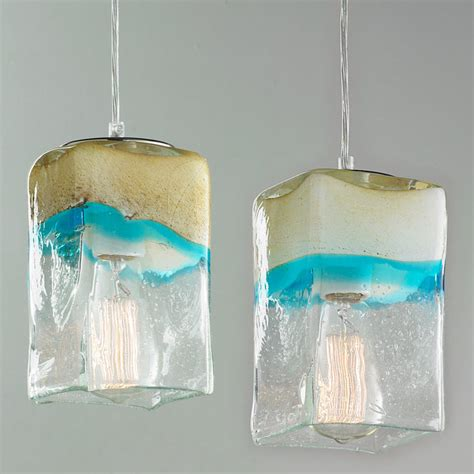 sand  turquoise square pendant light small shades
