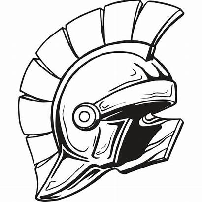 Spartan Clipart Helmet Clip Coloring Trojans Head