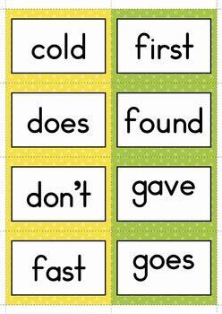 sight words memory game grade  words  lavinia pop tpt