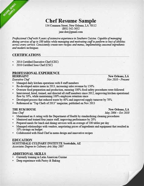 resume for chef position chef resume sle writing guide resume genius