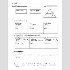 Density Worksheets With Answers  Density Worksheet With Answers  Chemistry  Density Worksheet