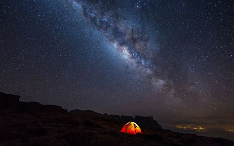 Night Camping Stars Landscape Milky Way Wallpapers