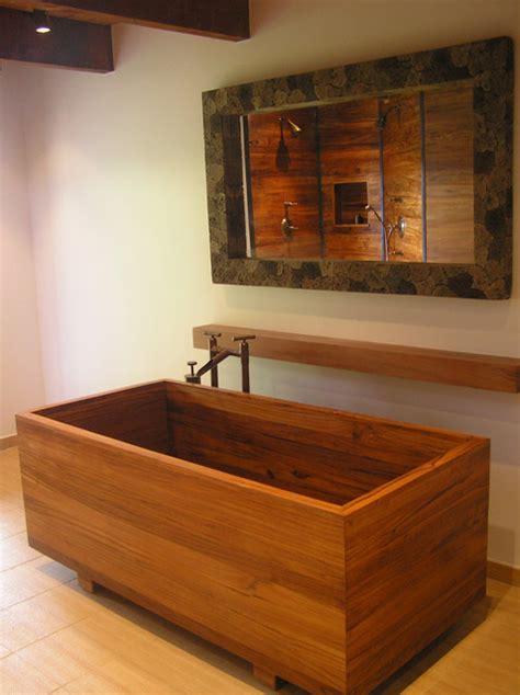 teak ofuro shower asian bathroom   bath  wood  maine llc