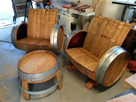 wine barrel chairs  table