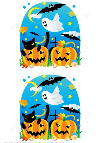 find  differences halloween scenes  pumpkins bats ghost black cat  printable