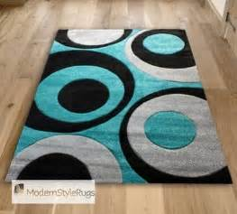 teal blue black and grey circles pattern rug very modern