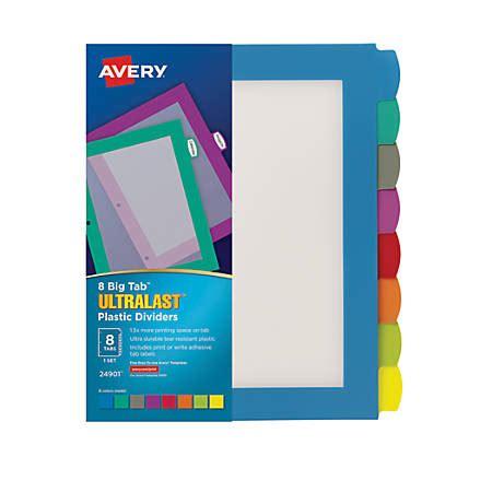 avery big tab ultralast plastic dividers  tab multicolor
